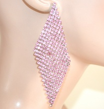 ORECCHINI STRASS  donna ROSA GLICINE pendenti rombi cristalli cerimonia F160