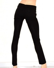 PANTALONE NERO donna skinny eco pelle coccodrillo SEXY elegante cintura cristalli 70