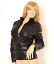PIUMINO donna giubbotto NERO imbottito giubbino giaccone куртка jacket Jacke G86
