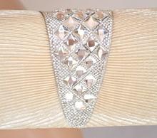 POCHETTE donna borsello BEIGE CRISTALLI elegante X cerimonia clutch STRASS borsa brillante 75D
