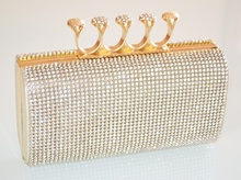 POCHETTE donna ORO elegante BORSELLO da cerimonia CRISTALLI clutch bag STRASS  party 5N