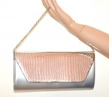 POCHETTE GRIGIO ARGENTO borsello metallizzato donna borsa borsetta elegante G54