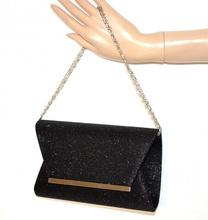 POCHETTE NERA borsello donna brillantini borsa da sera elegante cerimonia F83