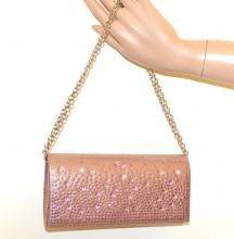 POCHETTE ROSA donna borsa borsello strass borsetta cristalli mini clutch bag G76