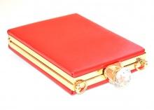 POCHETTE ROSSA ORO  donna borsello clutch  cristalli borsa cerimonia elegante E120