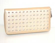 PORTAFOGLIO BEIGE ORO donna borsello chiodini borchie argento portamonete G26