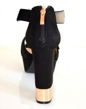 SANDALI donna NERI ORO sexy DECOLTE' tacco alto scarpe eleganti da sera cerimonia E8