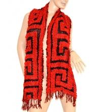SCIARPA donna scaldacollo ROSSO NERO ELEGANTE frangia scarf écharpe lana szalik шарф 40