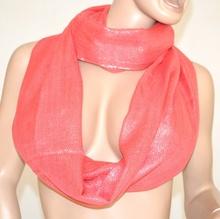 Sciarpa FUCSIA donna scaldacollo FILI argento metallizzati ad anello sciarpetta cerimonia elegante scarf 1000