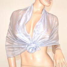 STOLA ARGENTO foulard coprispalle maxi donna sciarpa elegante cerimonia abito da sera vestito 135A