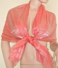 Stola Coprispalle donna rosa corallo metallizzato elegante per abito da sera\cerimonia F1
