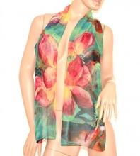 Stola coprispalle sciarpa foulard donna seta elegante fantasia floreale cerimonia sera 160L