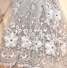 STOLA donna BEIGE TORTORA coprispalle 50% SETA scialle foulard ricamato étole sjal A30