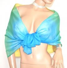 STOLA donna foulard giallo verde azzurro 40% seta coprispalle cerimonia velato scarf A14