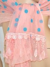 STOLA donna ROSA CIPRIA foulard POIS coprispalle velo damigella cerimonia 45X
