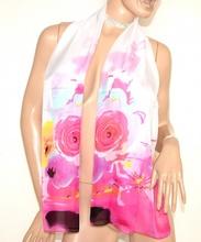 STOLA foulard bianca rosa fucsia coprispalle donna 40% seta elegante velata cerimonia A18