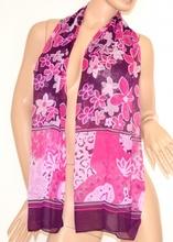 STOLA FOULARD coprispalle donna fucsia/viola CERIMONIA seta sciarpa abito elegante velato da sera floreale 125C