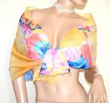 STOLA GIALLA donna foulard coprispalle fantasia floreale fiori elegante A56