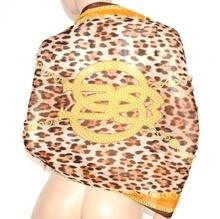 STOLA MAXI CORALLO MARRONE coprispalle scialle donna da cerimonia foulard seta velata leopardato elegante abito da sera S7