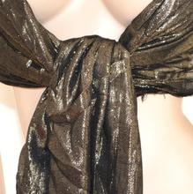 STOLA NERA ORO donna maxi scialle coprispalle elegante da cerimonia festa party Z3