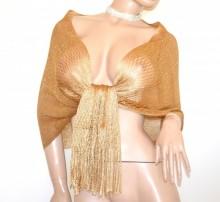 STOLA ORO dorato ambra RETE donna filo foulard maxi scialle frange coprispalle elegante G62