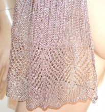 STOLA ORO ROSA scialle a rete donna foulard coprispalle filo lurex cerimonia G4