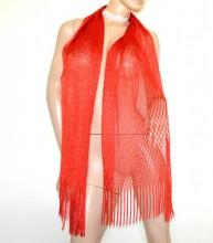 STOLA ROSSA rete donna filo foulard maxi scialle frange coprispalle elegante scarf G62