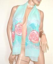 STOLA VERDE AZZURRO donna foulard seta  coprispalle velato fantasia floreale elegante A54