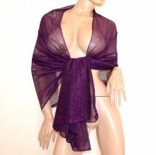 STOLA VIOLA maxi foulard donna coprispalle lurex brillantinato scialle elegante abito B3