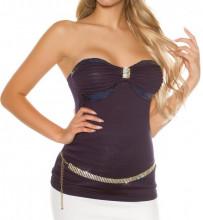 TOP BLU donna canotta maglietta sottogiacca decolte smanicato strass paillettes AZ57