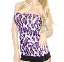 TOP FASCIA donna lilla glicine viola nero canotta sottogiacca maglia t-shirt A53