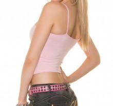 TOP ROSA CIPRIA donna canotta sottogiacca maglia corta giromanica t-shirt AZ69