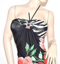 VESTITO abito donna nero bianco rosso corallo verde fantasia fiori party dress elegante A50E