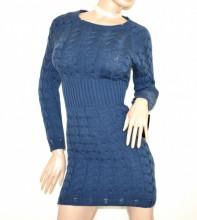 VESTITO abito in maglia donna blu lana maxi pull maglione manica lunga made in Italy G65