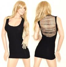 MINI ABITO NERO donna vestito tubino microfibra miniabito sexy fili schiena nuda aderente 50