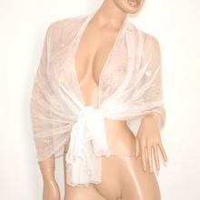 STOLA foulard maxi COPRISPALLE donna CERIMONIA elegante seta trasparente ricamata bianco da sera 250B