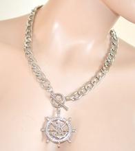 COLLANA girocollo donna CIONDOLO argento STRASS catena necklace sexy collar 132