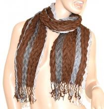 SCIARPA ELEGANTE scialle MARRONE GRIGIO stola con frange lana scarf écharpe schal шарф 50