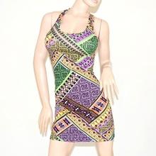 MINI ABITO vestito donna estivo colorato abitino copricostume cotone\lino miniabito dress vestido 65