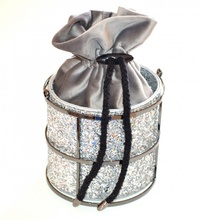 POCHETTE GRIGIO ARGENTO donna borsello borsa clutch bag elegante cerimonia A32