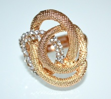 ANELLO oro dorato donna elastico strass cristalli a molla elegante regalo cerimonia A21