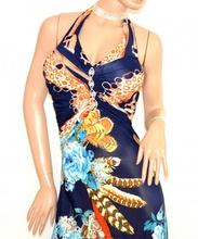 ABITO donna LUNGO vestito BLU NOTTE strass da sera elegante cerimonia sexy scollatura E170