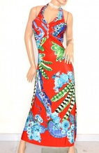 ABITO LUNGO ROSSO BLU VERDE  vestito donna strass da sera elegante E170