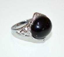 ANELLO ARGENTO NERO donna Pietra Dura Corniola etnico fascia bronzo anillo bague ring P43