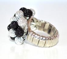 ANELLO donna ARGENTO NERO fascia strass elastica a molla elegante idea regalo ring F75