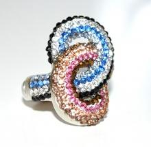 ANELLO donna argento strass multicolore fedina elastica a molla cristalli regalo elegante A4