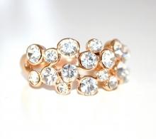 ANELLO donna fedina ORO\DORATO cerimonia con CRISTALLI strass brillantini elegante\cerimonia ring anillo 35