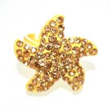 ANELLO donna giallo STRASS brillantini ORO sexy stella fedina regolabile fascetta 5X