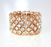ANELLO ORO STRASS donna elastico fedina fascia veretta cristalli ring F70
