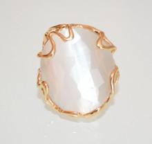 ANELLO PIETRA BIANCO AVORIO donna oro dorato regolabile Bronzo elegante anillo ring P54